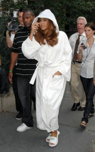 Beyonce Knowles in a Bathrobe